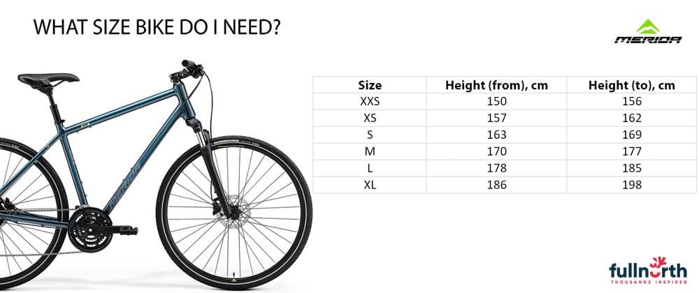 Merida Crissway size chart