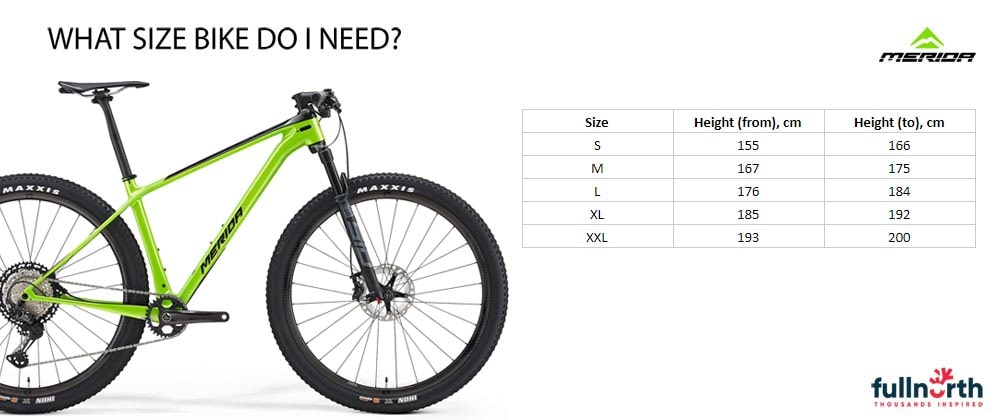 Merida big nine size chart 2021