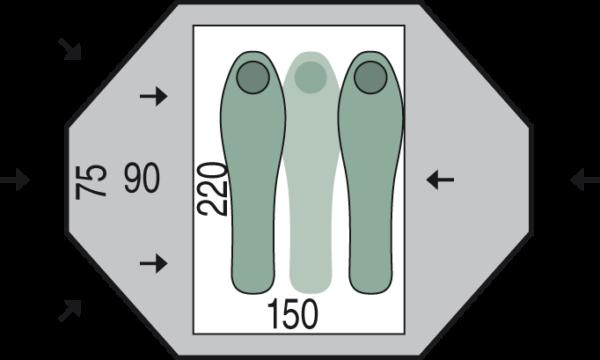 Tent Pinguin TORNADO 2 - measures